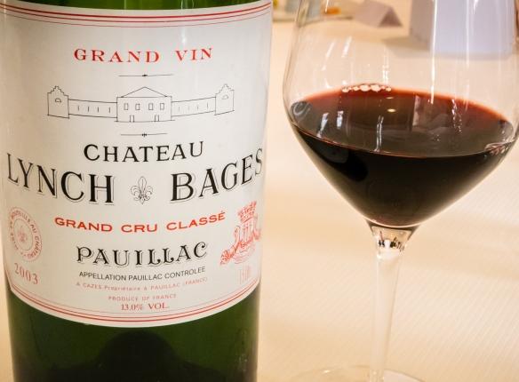 Château Lynch-Bages, Grand Cru Classé – Pauillac 2003 at Le Restaurant Gastronomique à Château Cordeillan-Bages, Pauillac, France