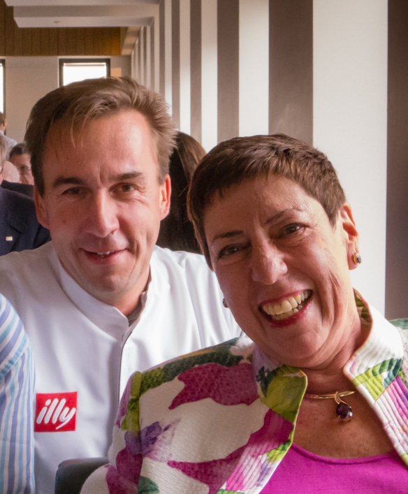 Chef Viky Geuns came out of the kitchen several times during our tasting menu dinner and conversed with the guests, shown here with the Intrepid Explorer, 't Zilte Restaurant, MAS building, Antwerp, Belgium