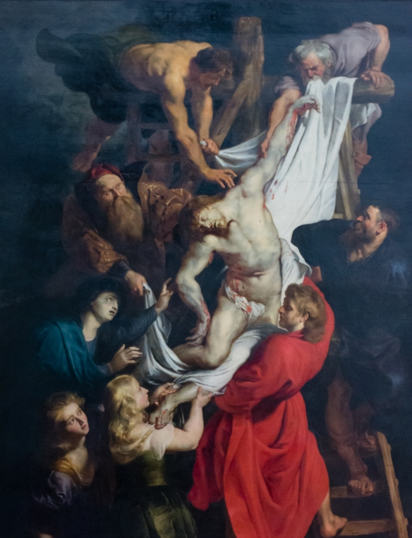 "Close-up of Peter Paul Rubens' painting ""the Descent from the Cross"", Cathedral of Our Lady, Antwerp, Belgium"