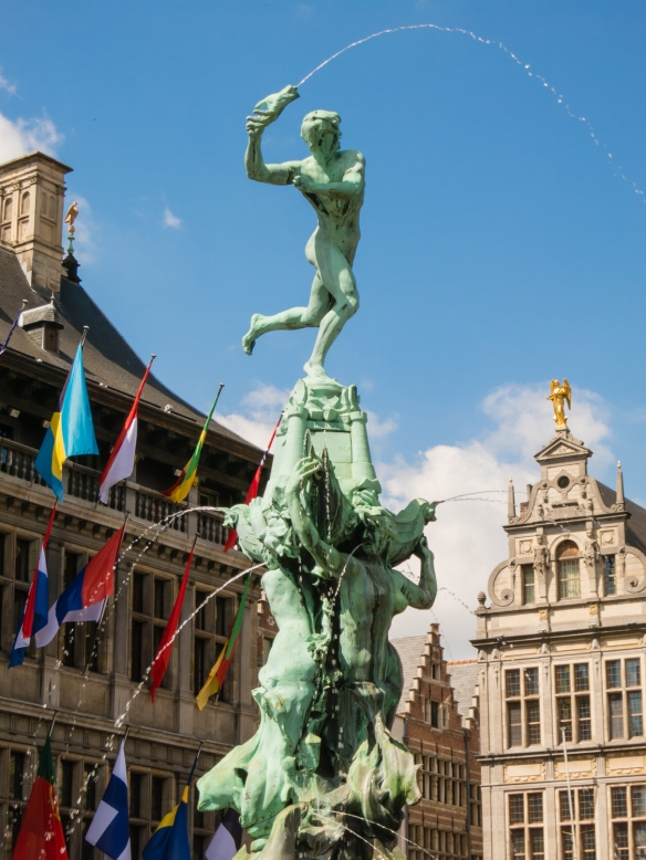 "Closeup of ""The Antwerp Hand"" statue in front of City Hall, Antwerp, Belgium"