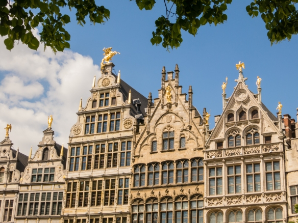 Closeup of medieval residential buildings on Grote Markt in the heart of the old city, Antwerp, Belgium