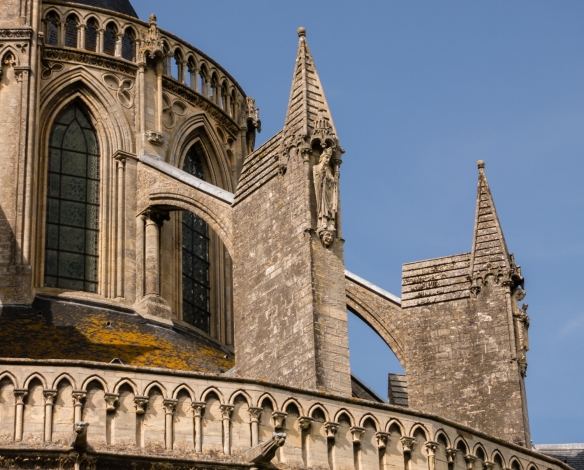 Closeup of the flying buttresses of the Bayeux Cathedral, Bayeux, Normandy region, France