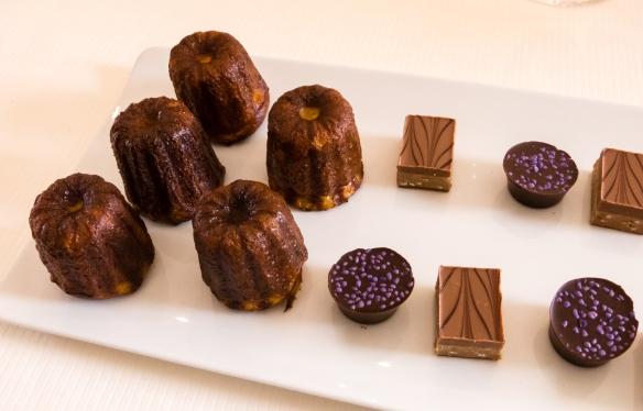 Dark chocolates and Bordelais Canneles, accompanied by Château La Tour Blanche Sauternes 2007, Le Restaurant Gastronomique à Château Cordeillan-Bages, Pauillac, France