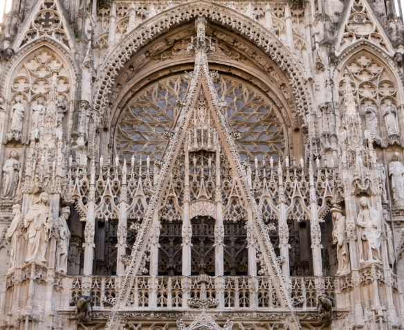 "Detail of Le portail de la Calende (main entrance-""gate""), Rouen Cathedral, Rouen, Normandy region, France"