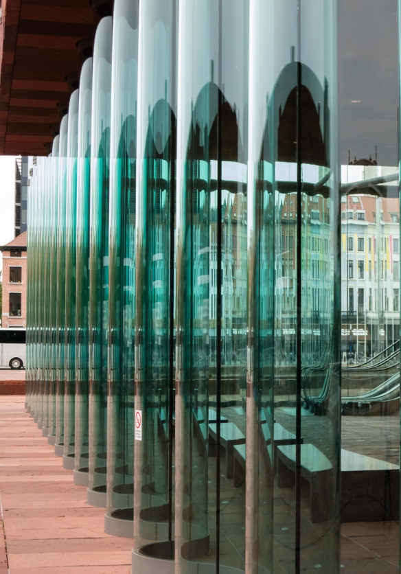 "Details of the curved glass ""curtain"" walls of Museum aan de Stroom (MAS), Antwerp, Belgium"