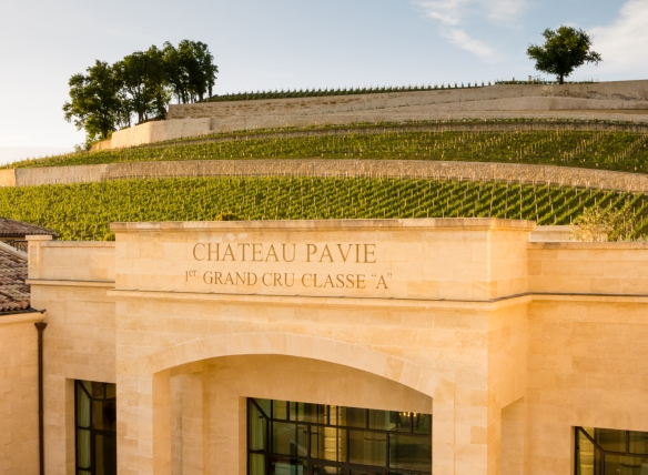 Entrance to the winery and vineyards on the hillside, Château Pavie, Saint-Émilion, Bordeaux region, France