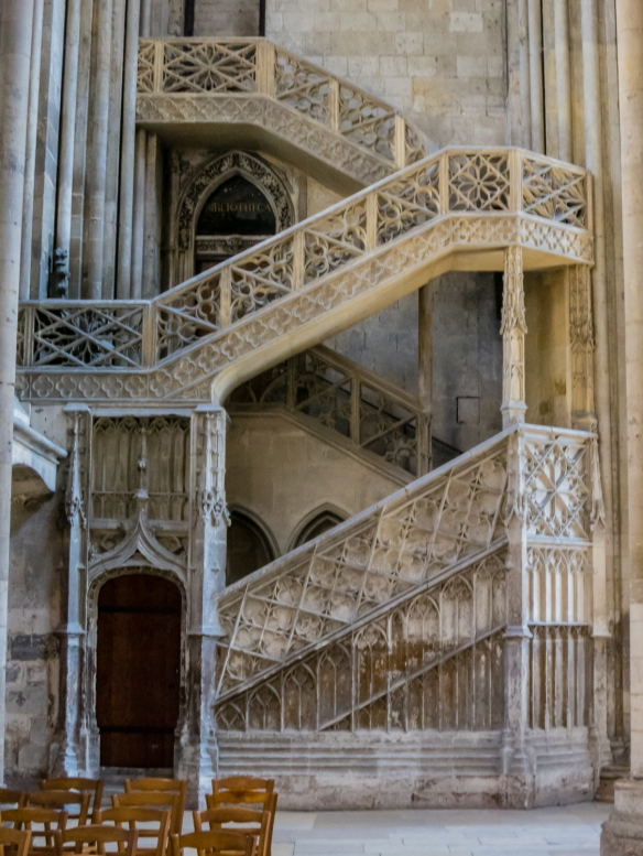 Escalier de la Librarie (Booksellers' Stairway) at the north end of the transept, Rouen Cathedral, Rouen, Normandy region, France