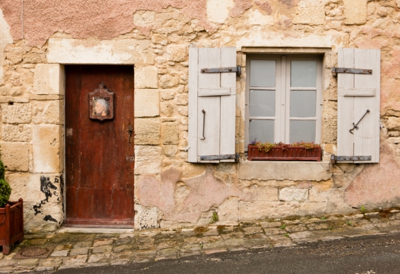 Façade of one of many historic houses within the walled city protected by the Blaye Citadel, Blaye, Bordeaux region, France