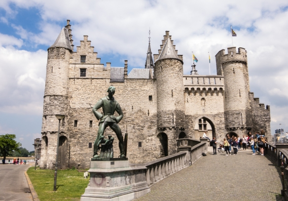 "Het Steen (Steen Castle), a medieval fortress dating back to the 13th century on the banks of the Schelde River (we were docked ""next door""!), Antwerp, Belgium"