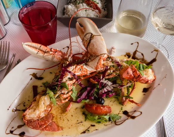 Homard Bleu a la Le Surcouf (Brittany blue lobster prepared by the chef in his style), Le Surcouf, Roscoff, Brittany, France