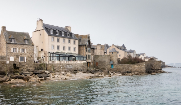 Houses and an hotel along the shore in Roscoff, Brittany, France