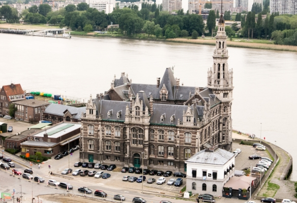 Loodsgebouw (Pilotage Building) on the Schelde River viewed from the panoramic deck on the top of the Museum aan de Stroom (MAS) building, Antwerp, Belgium
