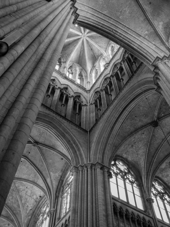 Looking Up Towards The Gothic Spires Tower Black And White Photograph Rouen Cathedral