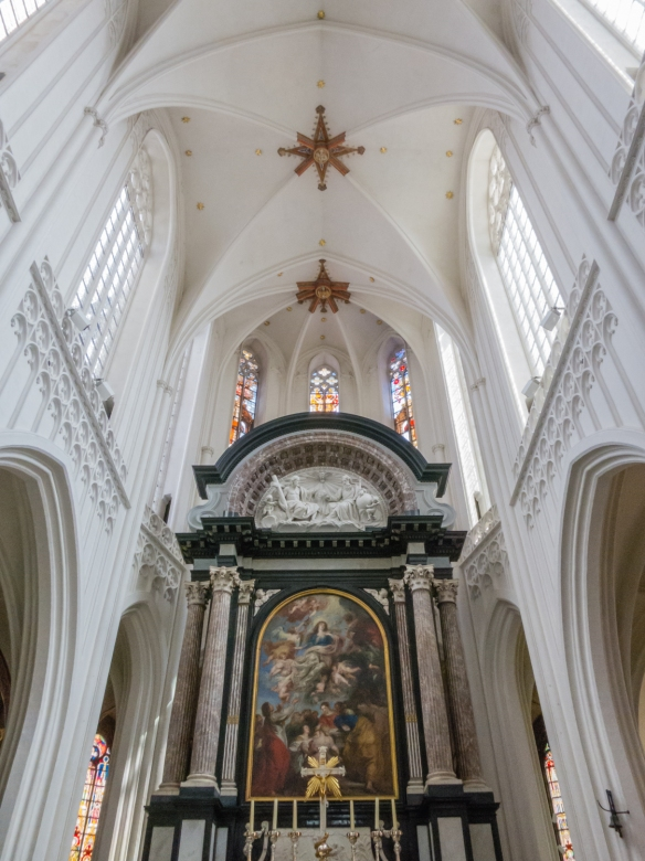 "Main altar with Peter Paul Rubens' painting ""the Assumption of the Virgin Mary"", Cathedral of Our Lady, Antwerp, Belgium"