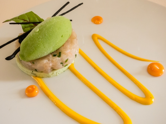 """Marinated langoustine and meager fish (sea bass) on a fennel puree topped with squid ink """"sticks"""", with fresh herbs sorbet, accompanied by 2014 Blanc de Lynch-Bages, Le Restaurant Gastronomique, Pauillac, France"""