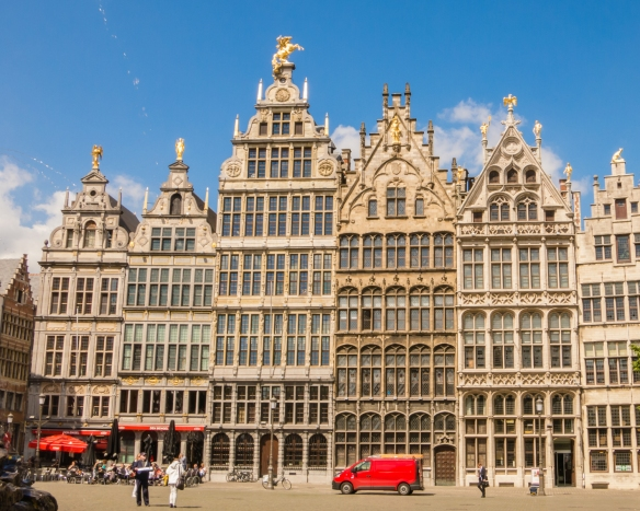 Medieval residential buildings on Grote Markt in the heart of the old city, Antwerp, Belgium