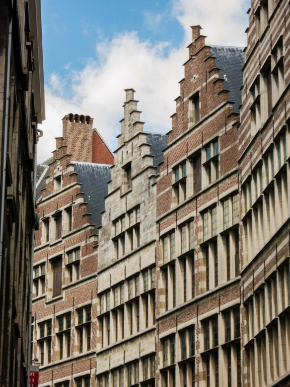 New residential buildings built in the architectural style of the medieval buildings, adjacent to Grote Markt in the heart of the old city, Antwerp, Belgium