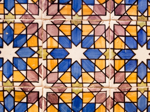Old, hand-crafted original design tiles decorate the exterior façade of portions of Palácio Nacional da Pena (Pena Palace), Sintra (near Lisboa-Lisbon), Portugal