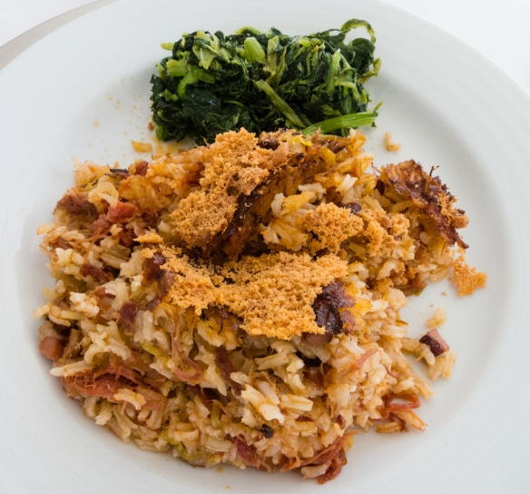 One main course – duck fried rice and spinach -- at Quinta da Pacheca, Lamego, Douro Valley, Portugal