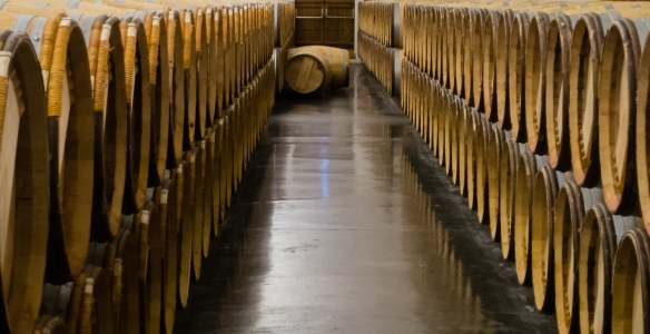 One of the barrel aging rooms at Château Lynch-Bages, Pauillac, Gironde, France