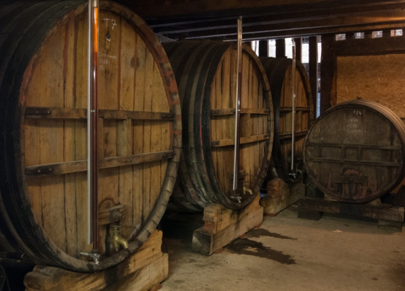 One of the store-rooms where the spirits are aged in barriques, Calvados Christian Drouin, Coudray-Rabut, Normandy region, France