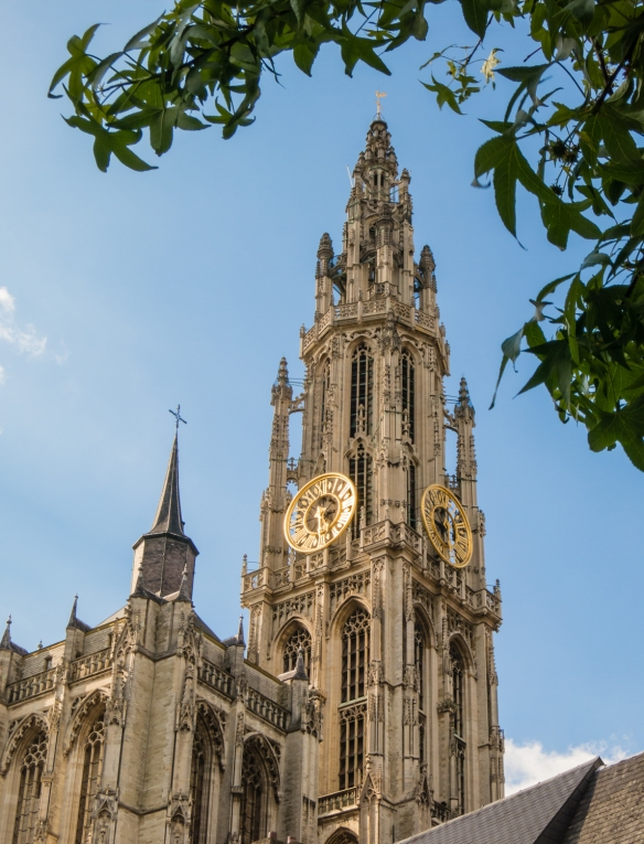 Onze-Lieve-Vrouwekathedraal (OLV, or Cathedral of Our Lady) tower and steeple, Antwerp, Belgium