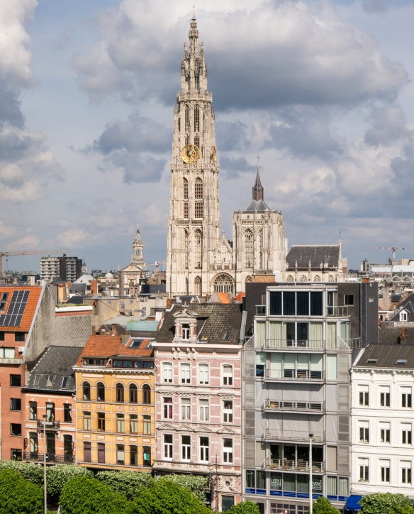 Onze-Lieve-Vrouwekathedraal (OLV, or Cathedral of Our Lady) viewed from the ship, Antwerp, Belgium