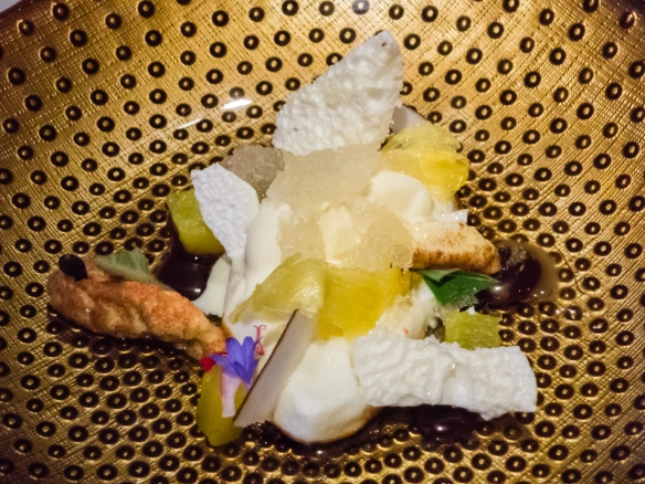 "Our desset course of Coconut – pineapple – ginger — coffee was accompanied by 2014 Germany Graach Riesling ""Feinherb"", 't Zilte Restaurant, MAS building, Antwerp, Belgium"