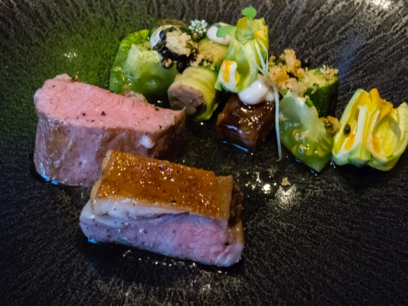 Our entrée course of Lamb – za'atar – zucchini – yoghurt was accompanied by a 2013 France Paul Jaboulet Cote du Rhone (Syrah, Grenache), 't Zilte Restaurant, MAS building, Antwerp, Belgium