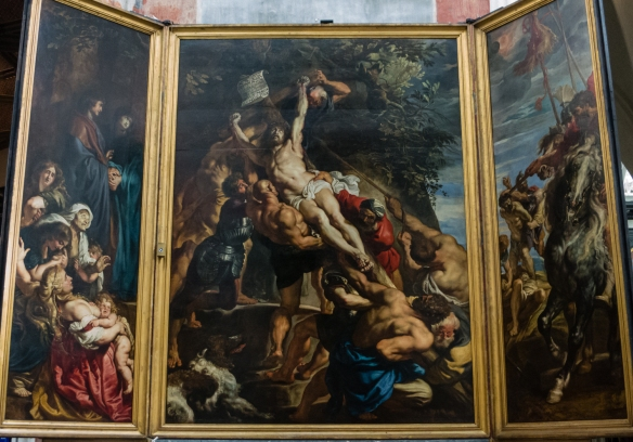 "Peter Paul Rubens' painting ""the Raising of the Cross"", Cathedral of Our Lady, Antwerp, Belgium"