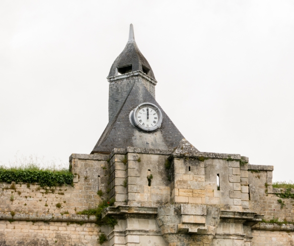 Porte Dauphine and its stone bridge access to the fortress is topped with a Vauban-designed clock tower, Blaye Citadel, Blaye, Bordeaux region, France