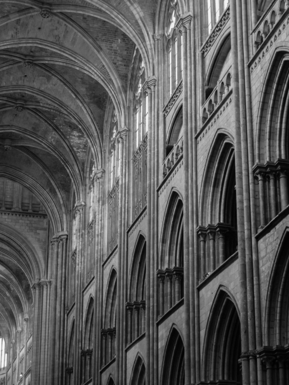 Ribbed Gothic Arches And The Side Nave Wall Black White Photograph Rouen