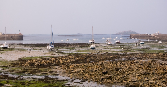 Roscoff Harbor at low tide, with boats sitting in the mud, Roscoff, Brittany, France