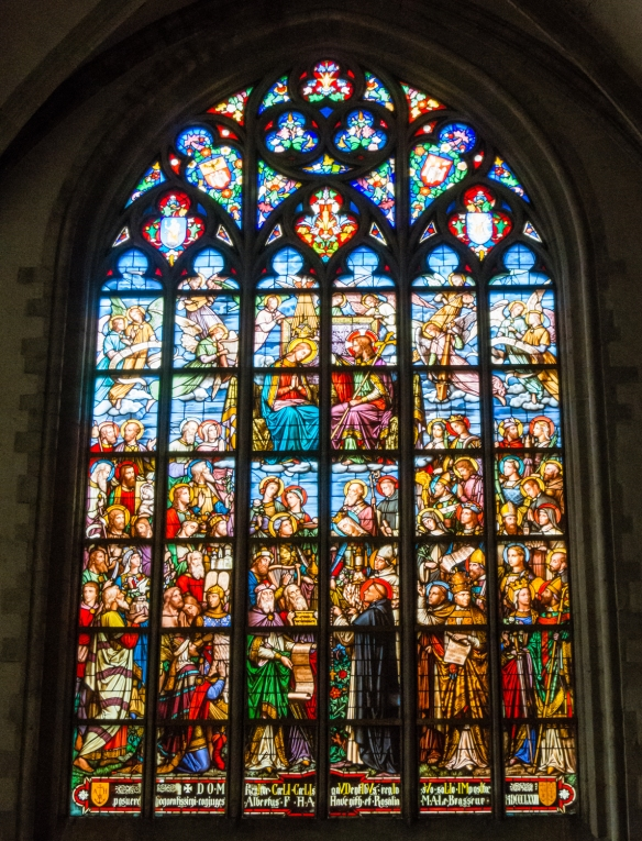 Stained glass window in Cathedral of Our Lady, Antwerp, Belgium