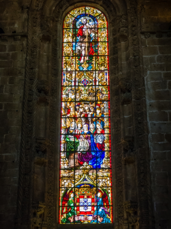 Stained glass window in Mosteiro dos Jerónimos (St. Jerone's Monastery), Lisboa (Lisbon), Portugal