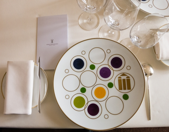 Table setting at Le Restaurant Gastronomique à Château Cordeillan-Bages, Pauillac, France