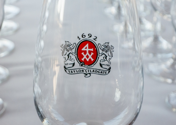 Taylor's logo on one of the five glasses we each received in our tasting, Porto (Oporto), Portugal