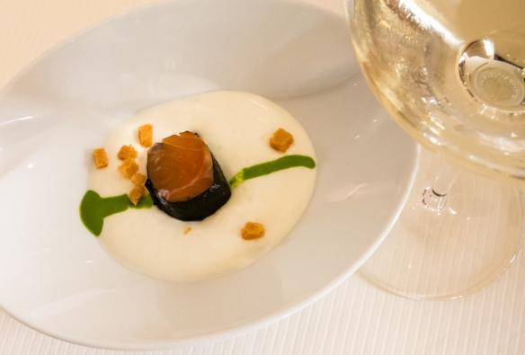 The amuse bouche – salmon confit with potato mousse and lettuce cream accompanied by 2014 Blanc de Lynch-Bages, Le Restaurant Gastronomique à Château Cordeillan-Bages, Pauillac, France