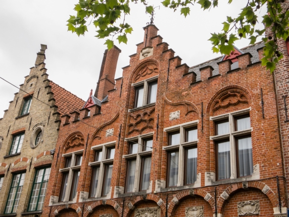 The brick residential architecture of the late 1800s became more decorative as seen in this residence from 1893, Bruges, Belgium