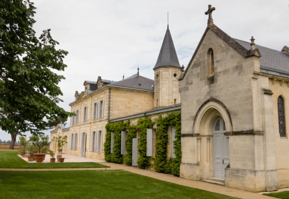 The chapel and side view of the historic Château at Château Cheval Blanc, Saint-Émilion, Bordeaux region, France
