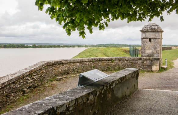 The citadel riverfront wall overlooking the Garonne River within the walled city inside the Blaye Citadel, Blaye, Bordeaux region, France