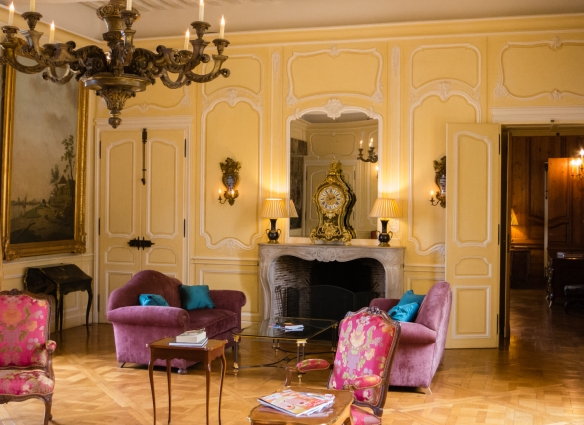 "The ""yellow"" reception room in the Château at Château d'Yquem, Sauternes, Bordeaux region, France"