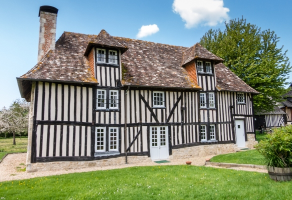The estate, representative of the local architecture of the 17th century, comprises a group of half-timbered buildings; Calvados Christian Drouin, Coudray-Rabut, Normandy region, France