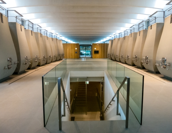 The impressive new cellar at Château Cheval Blanc, Saint-Émilion, Bordeaux region, France that opened in 2011