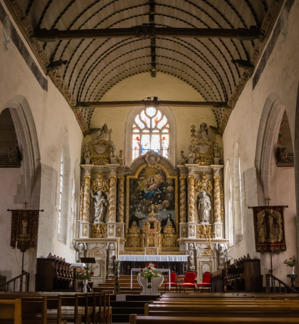 The interior of Eglise Notre Dame de Croaz Batz (Our Lady of Croaz Batz Church) dates from the 16th century, Roscoff, Brittany, France