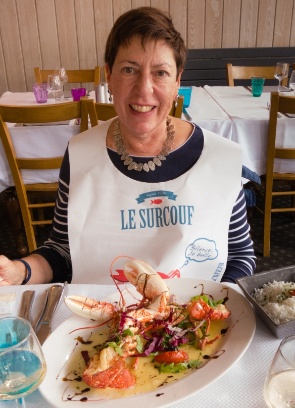 The intrepid explorer bibbed up for Homard Bleu, Le Surcouf, Roscoff, Brittany, France