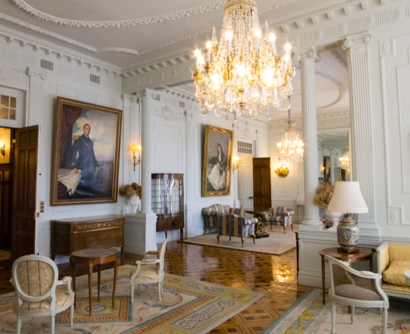 The living room restored in Palacio de la Magdelena (Palace of Magdelena) to the period from 1913 - 1930 when Spain's Royal family used it as a summer residence, Santander, Spain