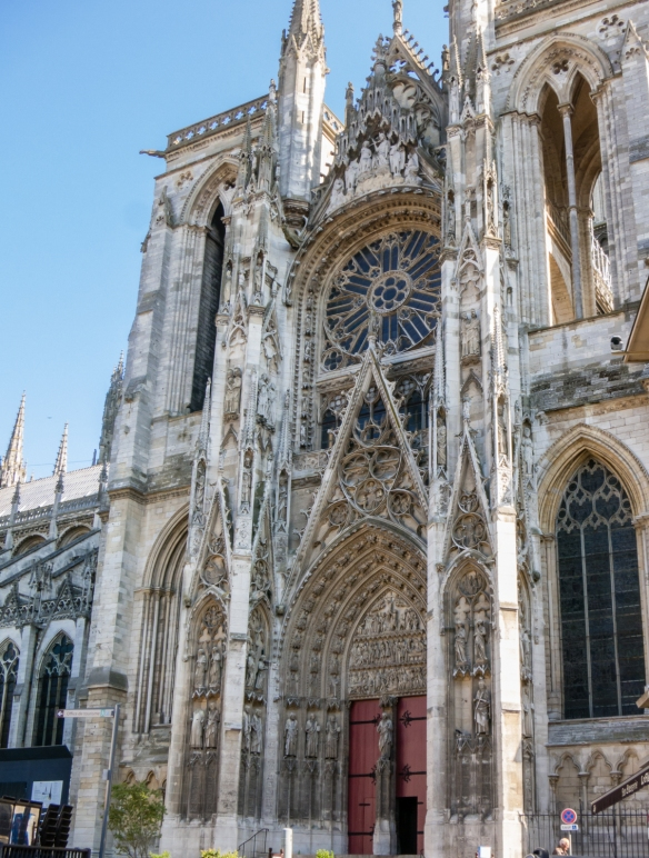 The magnificent Gothic Rouen Cathedral has a wealth of art, history, and architectural details and is recognizable to those familiar with Claude Monet's series of paintings of the facade, Rouen, Normandy region, France