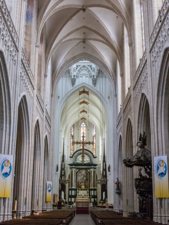 The main nave of Cathedral of Our Lady, Antwerp, Belgium
