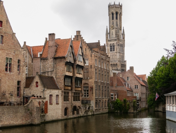 The most popular canal for photographs of Bruges – the Rozenhoedkaai Canal -- and a view of the Bruges Belfry, Bruges, Belgium